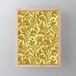 William Morris Thistle Damask in Mustard Gold Framed Mini Art Print