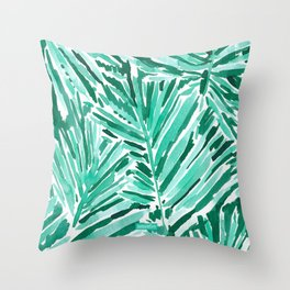 ON VACAY Green Palm Leaves Throw Pillow
