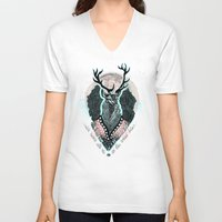 wind V-neck T-shirts featuring Wind:::Deer by Süyümbike Güvenç