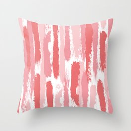 Brushstrokes Stripes Pattern - Pink, Rose, Coral, Peach Throw Pillow