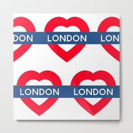 London Underground - Heart Metal Print