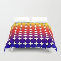 polka dot Duvet Covers featuring Rainbow Dot Candy Polka dot by ForgottenCotton