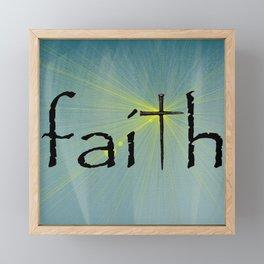 Faith Cross Bokah Yellow Rays Blue Art Religious Spiritual Art A641 Framed Mini Art Print
