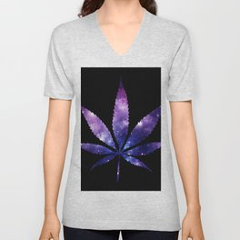 Weed : High Times purple blue Galaxy Unisex V-Neck