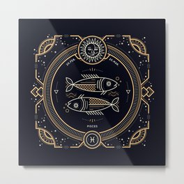 Pisces Zodiac Golden White on Black Background Metal Print