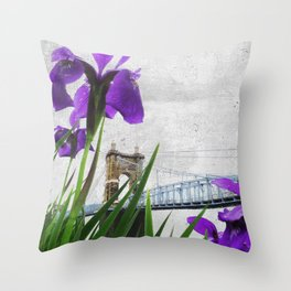 Roebling Suspension Bridge w Purple Iris Throw Pillow