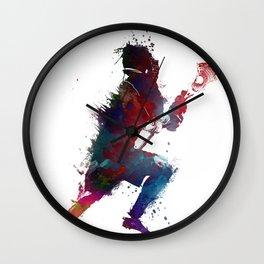 Lacrosse player art 1 Wall Clock