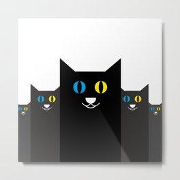 Black cat yellow and blue eyes #society6 #decor #buyart #artprint Metal Print