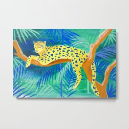 Leopard on Tree Metal Print