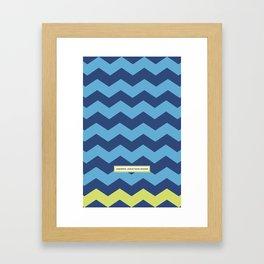 Chevron in Azure and Lime Framed Art Print