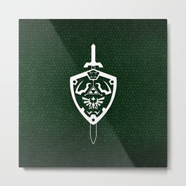 Master Sword & Hylian Shield Metal Print