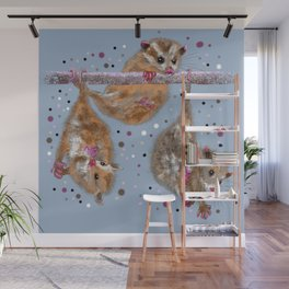 Possum trio on a branch - Blue Grey Wall Mural