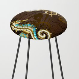Wooden Background with Mechanical Seahorse ( Steampunk ) Counter Stool