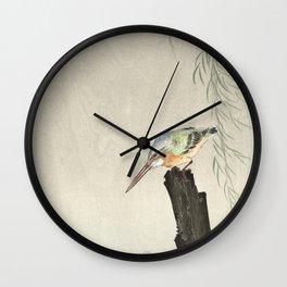 Kingfisher on a tree stump (1900-1936) by Ohara Koson (1877-1945) Wall Clock