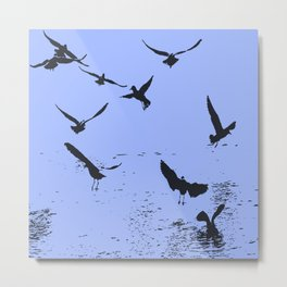 Silhouette Of A Flock Of Seagulls Over Water Vector Metal Print