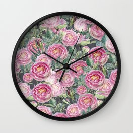 Vintage Roses Grey Wall Clock