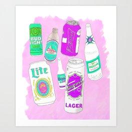 Vacation beers in lavender Art Print