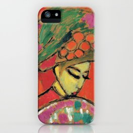 Young Girl with a flowered hat by Alexej von Jawlensky, 1910 iPhone Case