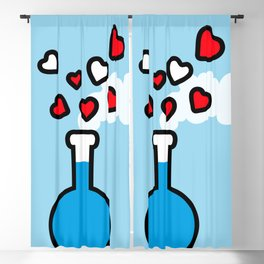 Blue and Red Laboratory Flask Blackout Curtain