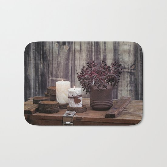 Autumn Still Life with berries and candles Bath Mat