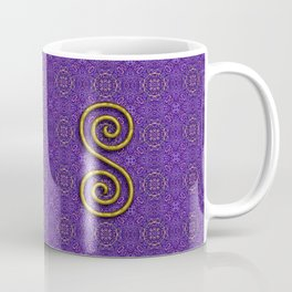 Golden Spiral on Purple Pattern Coffee Mug