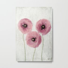 Pink Vintage Poppies II Metal Print