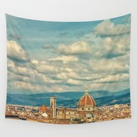 florence Wall Tapestries featuring Duomo in Florence Skyline by Tegan Jae