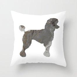 Grey Silver Poodle Abstract Fluid Acrylic Art Throw Pillow