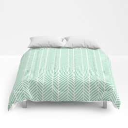 Herringbone Mint Inverse Comforters