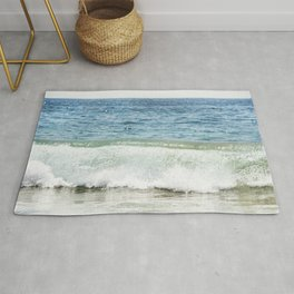 Blue Ocean Seascape, Sea Wave Photography, Pacific Coastal Landscape, Beach Seashore Rug