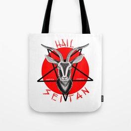 Hail seitan // vegan // baphomet Tote Bag