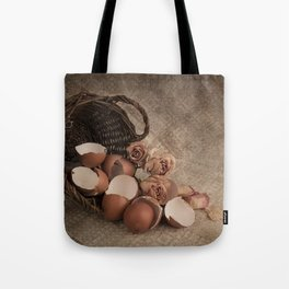 Basket with egg shells and roses Tote Bag