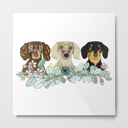 Triple Dachshunds Floral Metal Print