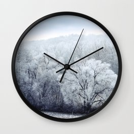 Foggy Winter Landscape with snow covered Trees Wall Clock