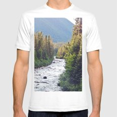 Winding Mountain River MEDIUM White Mens Fitted Tee