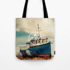 Blue Brown Vintage Nautical Anchor Sailing Boat Tote Bag