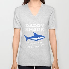 Mens Daddy Shark Doo Doo Doo T-shirt - Matching Family Shirt Unisex V-Neck