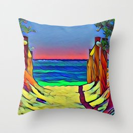 Going to the Beach Throw Pillow