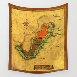 Map Mermaid Cabo de Gata Wall Tapestry