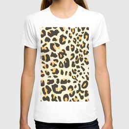 Trendy brown black abstract jaguar animal print T-shirt