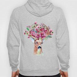 Shy watercolor floral deer Hoody