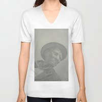 gray V-neck T-shirts featuring Gray by CataBeja Umaña Azul