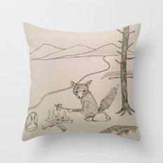 camping fox Throw Pillow