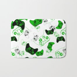 Video Game White and Green Bath Mat