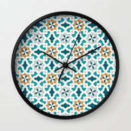 Geometric Pattern, oriental style (blue color set)  traditional morocco tile pattern Wall Clock