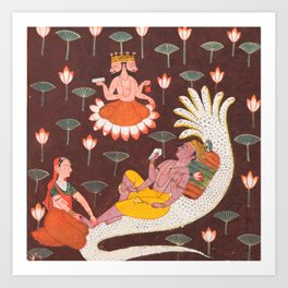 Vishnu on Ananta, the Endless Serpent, Vintage Indian Art, 1700 Art Print