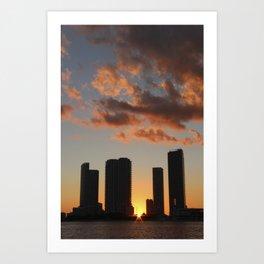 Downtown Miami Sunset Art Print