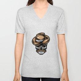 Retro Skull With Vintage Eyeglass Tattoo Illustration Unisex V-Neck