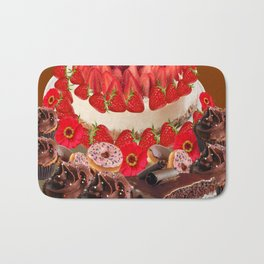 CAKE & STRAWBERRIES PINK FROSTED DONUTS BIRTHDAY Bath Mat