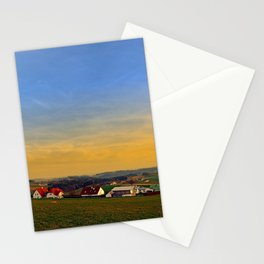 Sunset, the village and panorama   landscape photography Stationery Cards